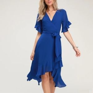 Lulus For the Frill Royal Blue Wrap tie dress